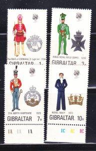 Gibraltar 286-289 Set MNH Military Uniforms (D)