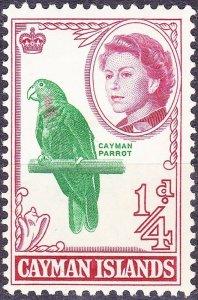 CAYMAN ISLANDS 1964 QEII 1/4d Emerald & Rose SG165a MH