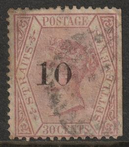 MALAYA Straits Settlements 1880 QV 10c opt 30c used SG#33 MA1221
