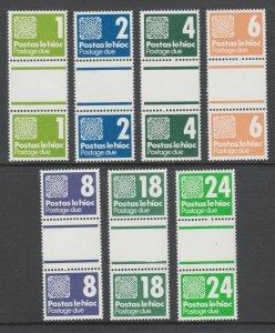 Ireland Sc J28-J34 MNH. 1980-85 Postage Dues, short set of gutter pairs, VF
