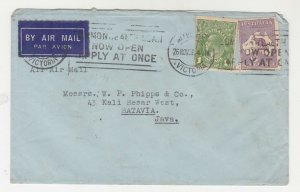 AUSTRALIA, 1936 Airmail cover, Melbourne to Neth. East Indies, KGV 1d., 9d. Roo.