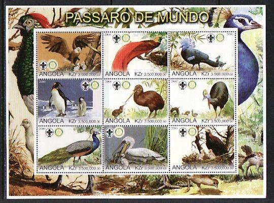 Angola, 2000 Cinderella issue. Birds sheet of 9.