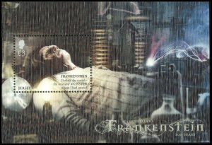 Jersey 2018 Mary Shelley Frankenstein 3D Lenticular Minisheet unmounted mint