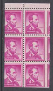 US Sc 1036b MNH. 1958 4c red violet Lincoln, booklet pane of 6, MISCUT