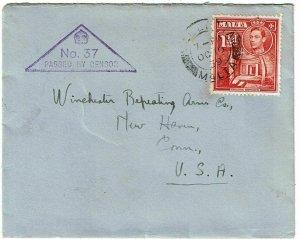 Malta 1939 Valletta cancel on cover to the U.S., censored