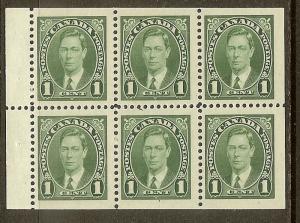 Canada, Scott #231b, 1c King George VI, Booklet Pane of 6, MLH