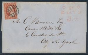 #10A ON FOLDED LETTER W/ PAID & BOSTON 3¢ OCT 28, 1851 RED CANCELS CV $220 BU496