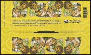 US 4880a Music Icons Jimi Hendrix imperf NDC header gutter block 8 MNH 2014
