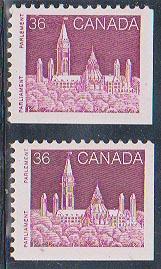 Canada USC #948&948i Mint VF-NH Cat. $4.25 1987 36c Dark Lilac Rose (2)
