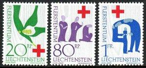 Liechtenstein 376-378, MNH. Intl. Red Cross Cent.Angel of the Annunciation,1963