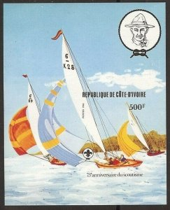1982 Ivory Coast Sea Scouts 75th ann sailing SS IMPERF
