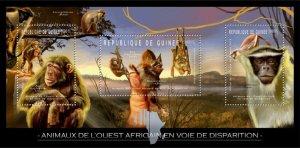 Guinea MNH S/S Endangered Animals Monkeys & Bats 2012