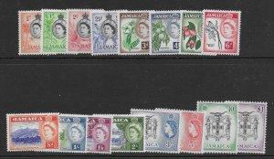 Jamaica 159-174  1956 set 16  VF  LH