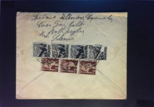 Italy 1946 Cover to USA (10 & 2L Strips / Stamps on Flap Torn) - Z830