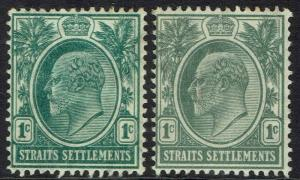 STRAITS SETTLEMENTS 1904 KEVII 1C BOTH SHADES WMK MULTI CROWN CA