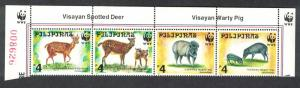 Philippines WWF Spotted Deer and Warty Pig Top Strip of 4v WWF Logo SG#2992-2995