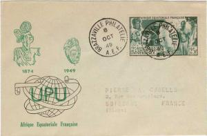 French Equatorial Africa Scott C34 Rubber Stamp Address.