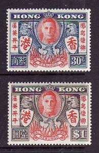 Hong Kong-Sc#174-5-unused NH KGVI set-Peace after WWII-1946-