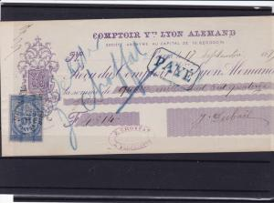 france 1879 cheque with  stamp ref r13856