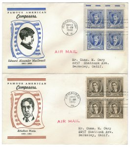 Scott 882,883 1940 5c & 10c Famous Americans First Day Covers Cat $10.00