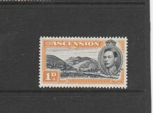 Ascension 1938  P13.5, 1d Black & yellow orange MM SG 39a