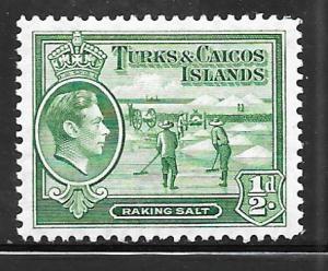 Turks and Caicos 79: 1/2d Raking Salt, MH, VF