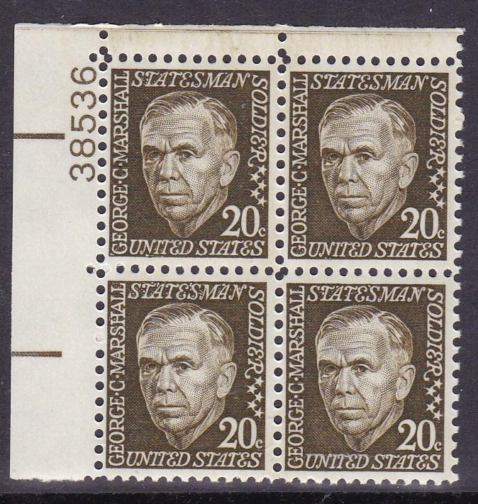 United States 1965 Prominent Americans 20c George Marshall Brown Shade VF/NH
