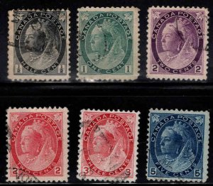 CANADA Scott 74-79 Used  Queen  Victoria Stamps  Good start to a Great set