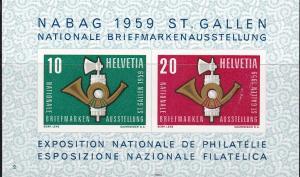 Switzerland 1959 NABAG St. Gallen Expo Souvenir Sheet . VF/NH/(**)