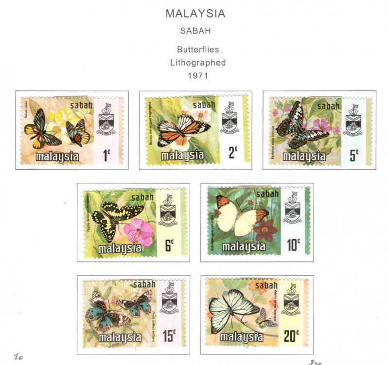 Malaysa Sabah  Scott 24-30 MH* butterfly set
