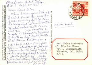 Trinidad 12c QEII Oil Refinery 1968 Scarborough, Tobago PPC Airmail to Alhamb...