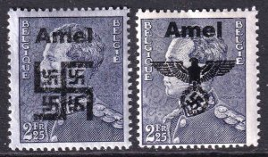 BELGIUM 297 WW2 AMEL 2 DIFFERENT OVERPRINTS OG NH U/M F/VF BEAUTIFUL GUM