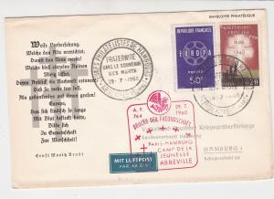 France 1960 Airmail Plane + Crosses Abbeville Cancel Stamps Cover Ref 29828