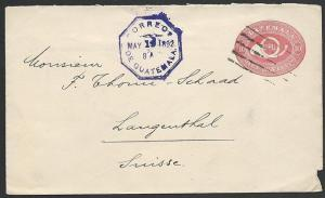 GUATEMALA 1892 10c envelope used with Switzerland..........................48948