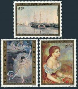 Gabon C146-C148,MNH.Michel 530-532. Paintings 1974.Degas,Monet,Renoir.
