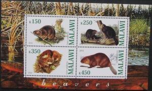 Malawi 2010 M/S Rodents Mammals Animals Beavers Nature Fauna Wildlife Stamps MNH