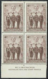 AUSTRALIA 1940 IMPERIAL ARMY 6D MNH ** IMPRINT BLOCK
