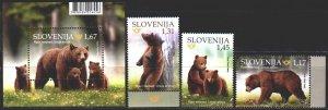 Slovenia. 2019. 1379-81, bl118. Bears, fauna. MNH.