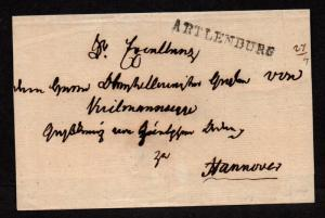 $German Stampless Cover, Artlenburg-Hannover (April 1865) very neat