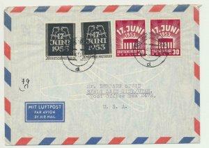 GERMANY 1953 COVER WITH BERLIN & GERMAN WORKERS SETS Sc#9N99-100 (SEE BELOW)