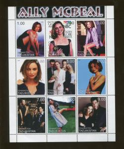 1999 Tajikistan Commemorative Souvenir Stamp Sheet - Actress Ally McBeal