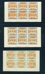 1915 NATIONAL PHILATELIC SOCIETY POSTER STAMP IMPERF SOUVENIR BLOCKS OF 6 (L664)
