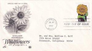 1992, Wildflowers-Sunflower, Art Craft/PCS, FDC (E11349)