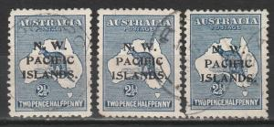 NWPI NEW GUINEA 1915 KANGAROO 21/2D ABC 1ST WMK USED