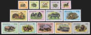 Uganda Scott 279-292 Mint never hinged.