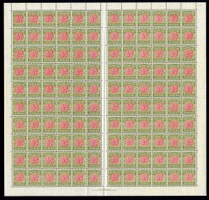 Australia SGD112 1938 1/2d Post Due Sheet of 120 Plentiful Varieties