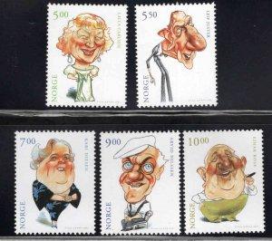 Norway Scott 1298-1302 MNH** 2001 Entertainer Caricature stamp set