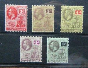 Montserrat 1916 - 1922 values to 1s MM
