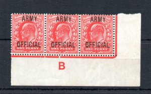 EDWARD VII 1d 'ARMY OFFICIAL' MOUNTED MINT CONTROL STRIP OF 3