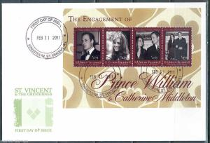 ST.VINCENT GRENADINES UNION ISLAND ENGAGEMENT MIDDLETON PRINCE WILLIAM  SHT FDC